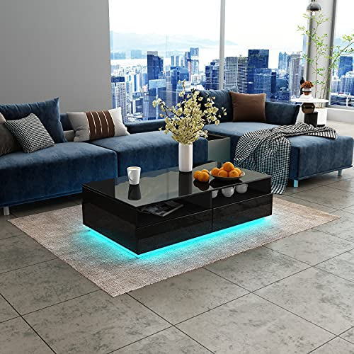 Coffee Table for Living Room,LED Side Table Modern Wooden Centre Table,Black Gloss Coffee Tables with 4 Drawer Storage for Home