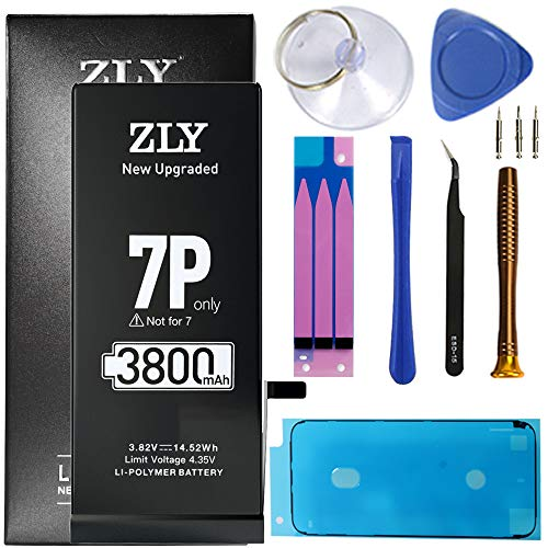 ZLY Battery for iPhone 7 Plus, 3800mAh High Capacity New 0 Cycle Replacement Battery for iPhone 7 Plus with Complete Professional Repair Tools Kits -12 Months Service