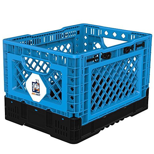 BIGANT Heavy Duty Collapsible & Stackable Plastic Milk Crate - IP403026, 26 Quarts, Small Size, Blue, Set of 1, Snap Lock Foldable Industrial Garage Storage Bin Container Utility Basket