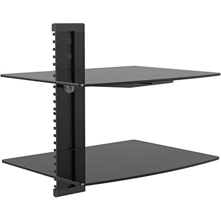 WALI CS202B Floating Wall Mounted Shelf with Strengthened Tempered Glasses for DVD Players,Cable Boxes, Games Consoles, TV Accessories, 2 Shelf, Black