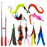 【Safe and Harmless Materials】 2021 upgraded wand, which is thicker and flexible, not easily broke and more durable.This Cat Feather Toy is made of truth feather materials, so you don't need to worry about the cat's health when you use it, you can buy...