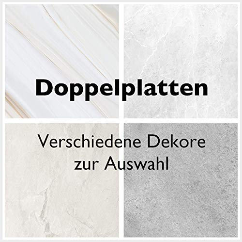 Duschrückwände Dekor Set 2 Platten Ecklösung- Wand Verkleidung Dusche Bad Rückwand mit Motiv Muster - Stein Marmor Sand Optik Kunststoff Platte (2x Steingrau Hell Natural)