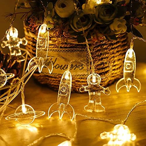XINGHE LED Cadena Luces, Luces de Cadena de Cortina, Alimentado por batería, para Decorativas, Navidad, Habitacion, Fiesta, Jardín, Bodas, Césped (Blanco Cálido, 1,5M 10 LED)