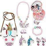 Joyas de Unicornio para niñas, Bolso de Bandolera de Cuero de Unicornio de PU, Collar, Pu...