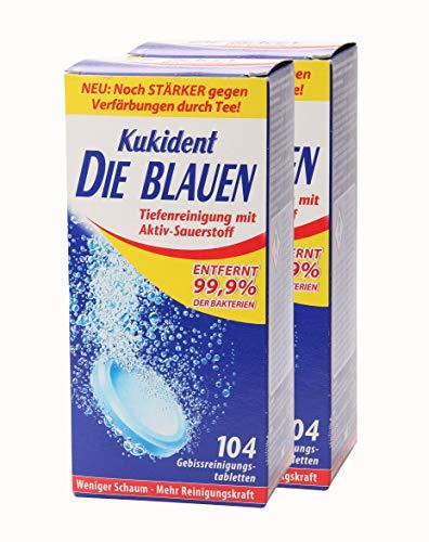 2x Kukident Die Blauen Gebissreinigungstabletten Gebissreiniger Reiniger 104 Stk.
