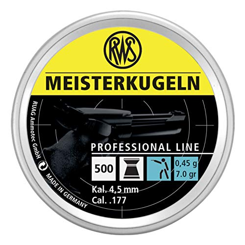 Umarex RWS Meisterkugeln Pistol Professional Line Precision Pellet Gun Pellets.177 Caliber, 7 Grains, 500 Count