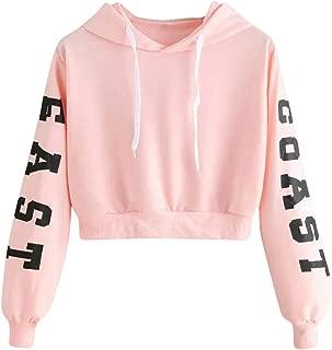 TOPBIGGER Women's Letter Print Long Sleeve Crop Top Sweatshirt Hoodies Lace Up Pullover Sweatshirt