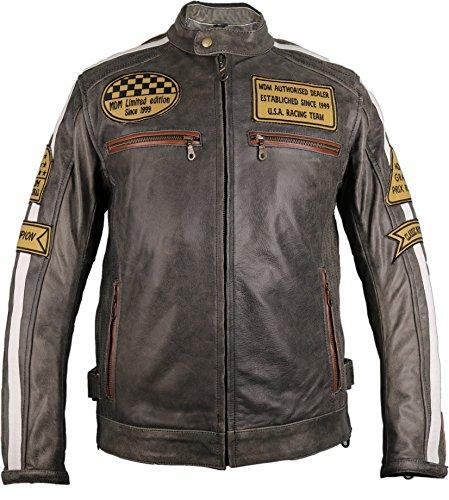 Herren Retro Motorrad Lederjacke (L)