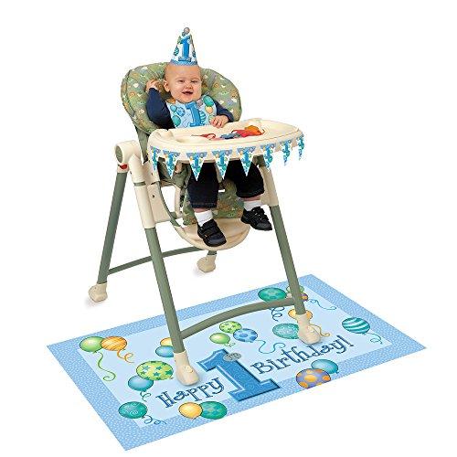 Decoratieset voor hoge stoel met luchtballonnen voor de 1e verjaardag, blauw
