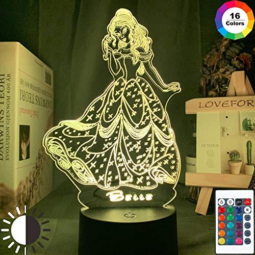 Belle Princess jurk figuur 3D gelijmde lamp kinderen meisjes slaapkamer decoratie lamp cool kerstgeschenk begeleidend nachtlampje