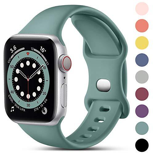 CeMiKa Compatible con Apple Watch Correa 38mm 42mm 40mm 44mm, Deportivas de Silicona Correas de Repuesto Compatible con iWatch SE Series 6 5 4 3 2 1, 38mm/40mm-S/M, Pino Verde