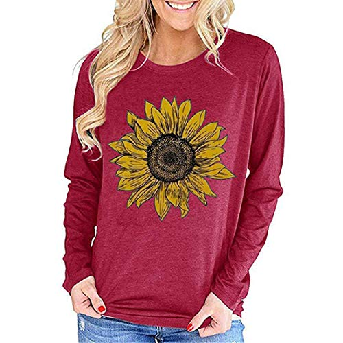 MENAB Women Long Sleeve Tee Shirt Fashion Cute Novelty Sunflower Graphic Tops Casual Cotton Autumn Fall Winter Blouse Long Sleeve T-Shirt White Sunflower Women's Personalized Baseball Raglan