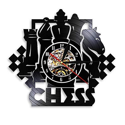 CHANGWW Juego de ajedrez Reloj de Pared artístico Tablero de ajedrez Piezas Negras Jugador de Estrategia Club de ajedrez Reloj de Vinilo Maestro Regalo de los Amantes del ajedrez