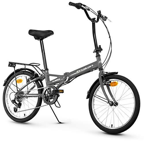 Anakon Folding Sport Bicicleta Plegable, Adultos Unisex, Gris