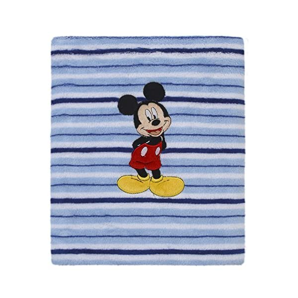 Disney Mickey Mouse Super Soft Coral Fleece Baby Blanket, Blue/Navy