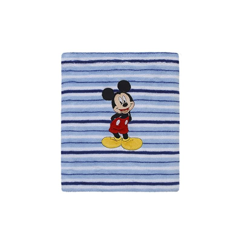 crib bedding and baby bedding disney mickey mouse super soft coral fleece baby blanket, blue/navy
