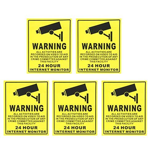 TOYANDONA 5Pcs 24 Ore Segno di Sorveglianza Autoadesivo Adesivo di Avvertimento Internet Monitor Segno Logo per Pareti Pareti Porte Scuola Esterna Edificio per Uffici Scuola Esterna