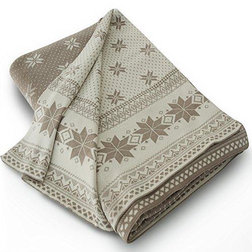 casa pura Wohndecke Florence mit Norweger Muster | schadstoffgeprüft | kuschelige Decke aus Baumwolle | Größe wählbar (150x200 cm) Baumwolldecke - Kuscheldecke