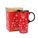 Tall Ceramic Travel Mug with Sealed Lid and Matched Color Box 17Oz(Snowflake)