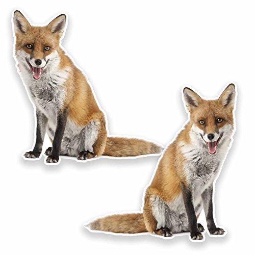 2 x 10cm Ginger Fox Vinyl Stickers Decals Laptop Car Gift Fun Wild Animal #9643 (10cm Wide x 10cm High)