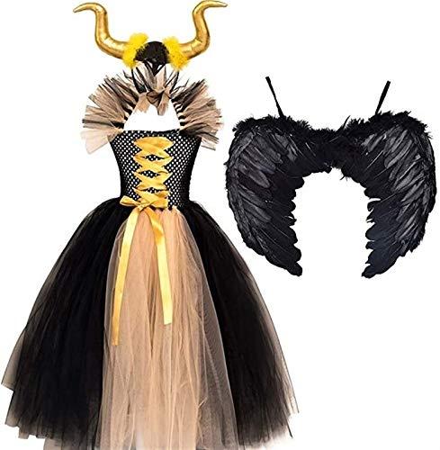 Disfraz de Malefica Nias Reina Bruja Maleficent Costume Tutu Vestido con Diadema de Cuernos Alas de Angel para Halloween Cosplay Carnaval Disfraces 0-12 Aos ( Color : Yellow , Size : 6-7Y )