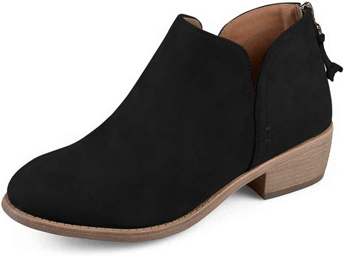 YDN Women Stacked Mid Heels Ankle Block Bootie Nippon regular Special sale item agency Toe Almond He Low