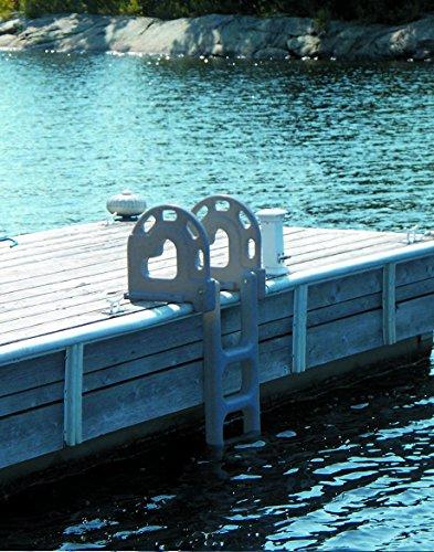 Dock Edge + Dock Ladder, 4 - Step, Flip Up - Grey