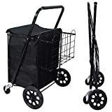 NSdirect Folding Utility Shopping Cart Jumbo Grocery Carts with Double Basket 360° Rolling Swivel Wheels Adjustable Handle for Laundry, Shopping, Camping, Grocery, Luggage