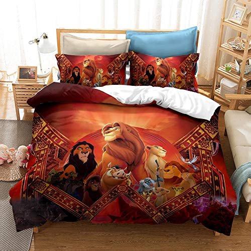 XCMDSM Duvet cover 3D Printed Bedding set Duvet Cover and Pillowcase Bedroom Decor Quilt Covers for Kids and Adults Soft Microfiber Set Simba(135X200CM 2 pieces)