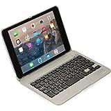 Cooper Kai SKEL P1 [Étui Clapet & Clavier Bluetooth] iPad Mini 1 2 3 Coque Macbook 13 Touches de Raccourci pour Apple iPad Mini 1st 2nd 3rd (Argent)