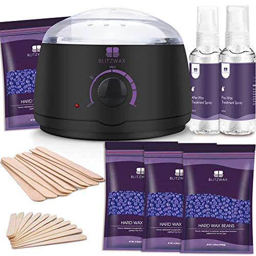 BLITZWAX Waxing Kit Hair Removal Wax Warmer Kit with Sensitive Skin Formula 14oz Lavender Hard Wax Beans for Facial Eyebrow Armpit Bikini Brazilian, Removes All Hair Types