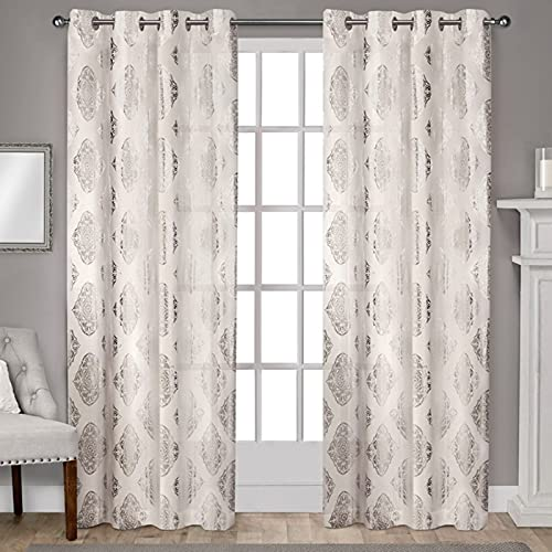 Exclusive Home Curtains Augustus Metallic Grommet Top Panel Pair, 54x108, Off-white, 2 Count