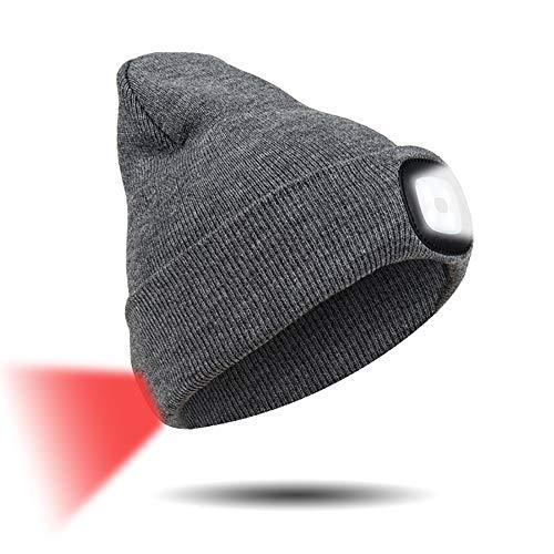 INHDBOX LED Mütze Kappe, Strickmütze mit USB Nachladbare Licht, Beleuchtung und blinkende Warnungs-Arten 8 LED, einfache Installation Vorne Hinten Scheinwerfer-Mütze, Winterwärmer-Strickkappe - 4