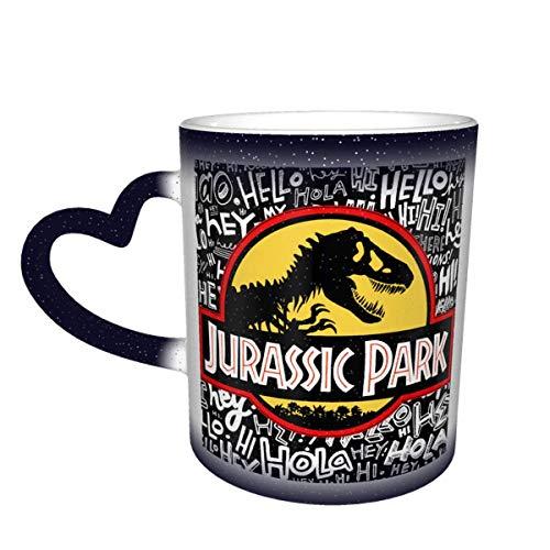 N\A Jurassic Mug Park Taza de café Que Cambia de Color Taza Sensible al Calor Que Cambia en el Cielo Taza de té de cerámica Que Cambia de Color, 12 onzas Azul