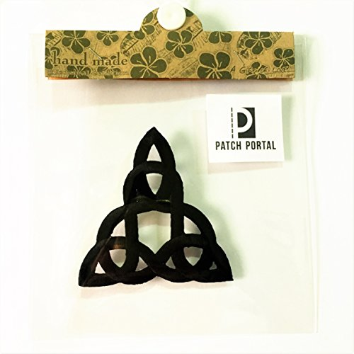Patch Portal Black Celtic Knot 3 Inches Irish Tattoo Pattern DIY Embroidered Applique Trinity Stencil Triquetra Gothic Sew Iron on Patches for Jackets Jeans Hats Clothes Backpacks