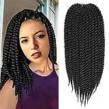 Havana Twist Crochet hair Braiding Hair Senegalese Twist Hair 6Packs 12inch 12Roots/Pack (12inch, 1B)