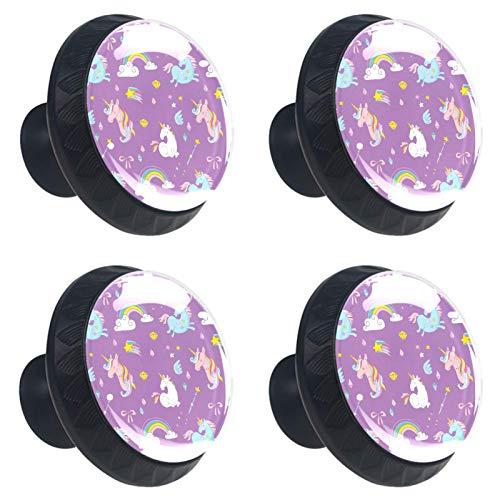 ATOMO 4 pomos de cristal de unicornios tímidos de 30 mm para cajón, tirador Usd para armario, cajón