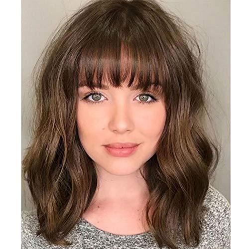Pastel Wavy Wig Women's Short Bob Light Brown Wig Curly Wavy Shoulder Length Pastel Bob Synthetic Cosplay Wig for Girl Costume Wigs