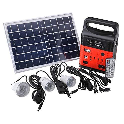 Solar Beleuchtungsset Solar Home System Mit Radio Und Bluetooth Taschenlampenfunktion Für Camping Wandern Angeln Gartenhaus Rot,Rot