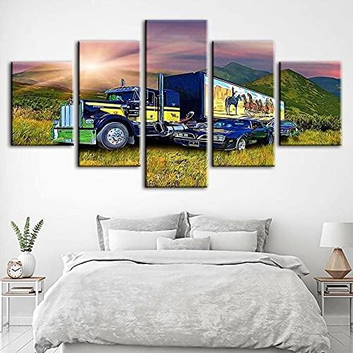 WUHUAGUO 5 Paneles Cuadros En Lienzo Imágenes Decorativas Ilustraciones De Camiones Y Automóviles Wall Art Decoración del Hogar Impresiones HD Póster 150X80Cm Mural De La Decoración De La Pared