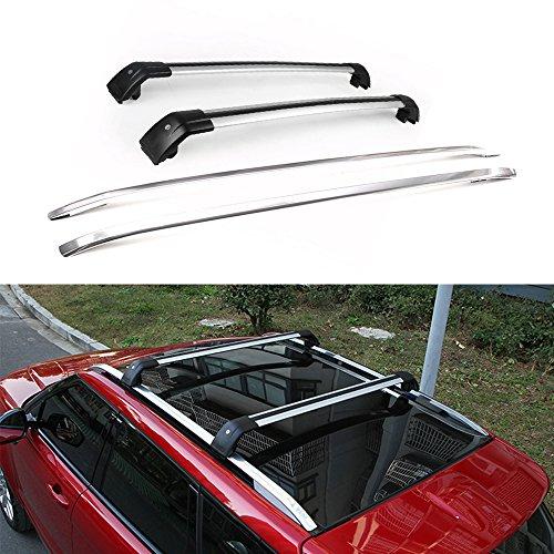 4 piezas Tejado Ferroviario para Land Rover Range Rover Evoque 2010 – 2019 Plata Equipaje Equipaje portaequipajes Cross Bar Crossbar Barra