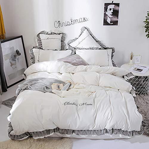 SWEET Parure de lit Adulte, Parure de lit 220X240 Adulte Gris Housse de Couette 4pcs pour Lit Housse de Couette Parure de lit 4pcs Housse de Couette 220x240cm Drap Taies d'oreiller