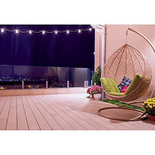 Yeele 7x5ft Open Balcony Backdrop Rooftop Patio with Hanging Swing Chair and String Lights at Night Photography Background Modern City Newlife Style Home and House Design Photo Studio Props
