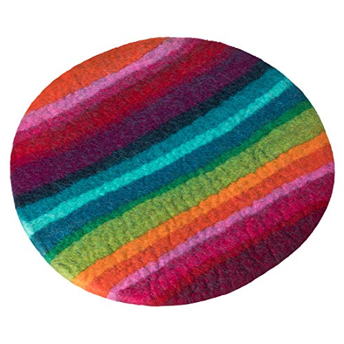 Maharanis FAIRTRADE Handgefilztes Sitzkissen Stuhlkissen Untersetzer Regenbogen, Bunter Mix, 36