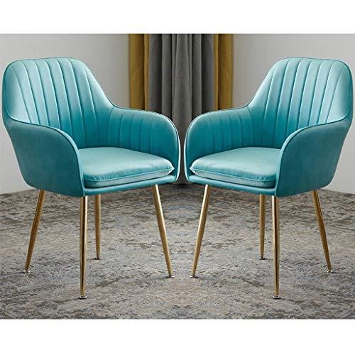 ZCXBHD 2 stuks armleuningen stoelen set, zitting van fluweel gevoerde zitting gouden metalen poten retro eetstoelen om lekker lounge vrije tijd keukenstoelen met rugleuning