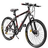 Outroad Mountain Bike 26-inch Wheel 21 Speed 3 Spoke Double Disc Brake Bicycle Suspension Fork Rear Anti-Slip Bike for Adult or Teens