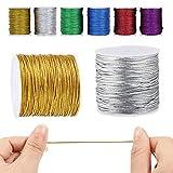 Mengger 6 Pcs Bobina de cordel dorado metálico Cuerda metálica Hilo de costura para joyería y manualidades envoltorio de regalo Cuerdas cordeles