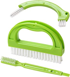 Living&Giving Grout Brush, (3 in 1) Grout Cleaner Brush, Tile Joint Scrub Brush With Handle, Stiff Cleaning Brush for All of the Household Such as Shower,Bathroom, Kitch, Seams, Floor Lines