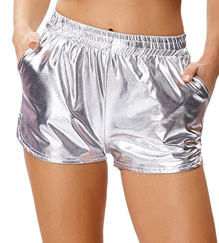 Kate Kasin Sport Yoga Hot Pants Glänzende Metallic Boxer Hotpants Metallic Kurze Hose Silber (862-3) Medium