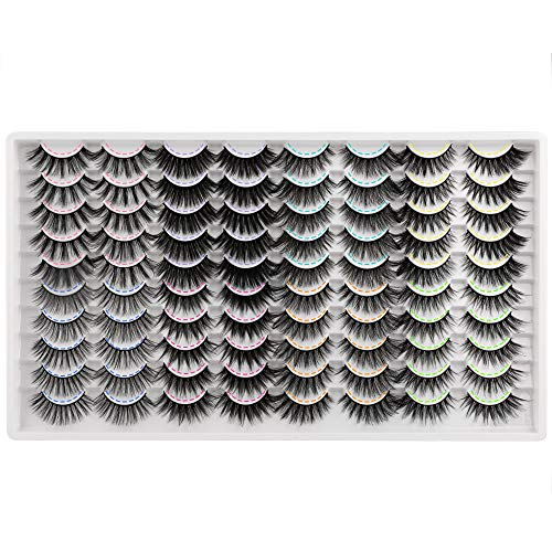 JIMIRE 40 Pairs False Eyelashes Fluffy Natural 8 Styles Mixed Fake Lashes 3D Volume Faux Mink Lashes Pack